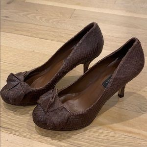 ZARA Collection Brown Leather Heels 6.5